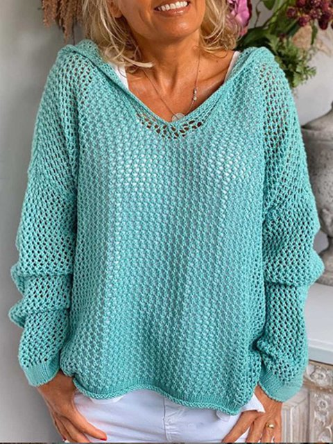 Blue Long Sleeve Patchwork Sweater