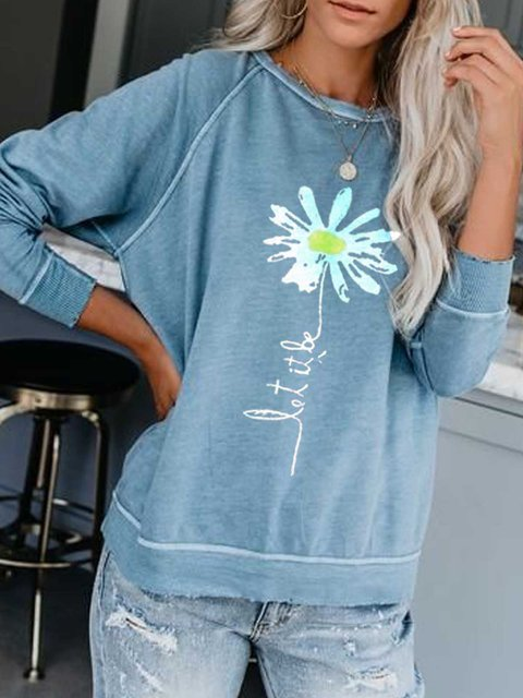 Light Blue Printed Casual Round Neck Cotton-Blend Shirts & Tops