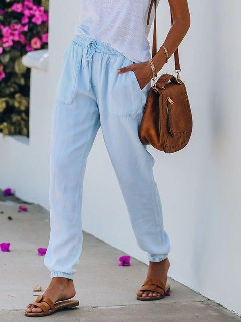 Blue Cotton-Blend Casual Pants