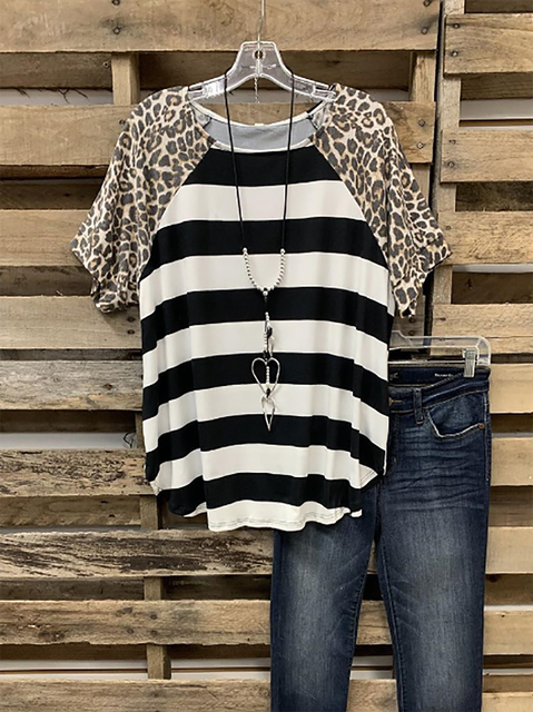 Black Short Sleeve Cotton-Blend Leopard Shirts & Tops