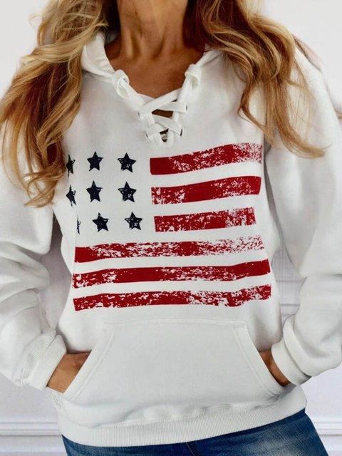 American Flag Lace Up Pocket Hoodie
