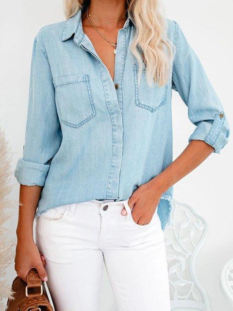 Blue Plain Casual Shirts & Tops