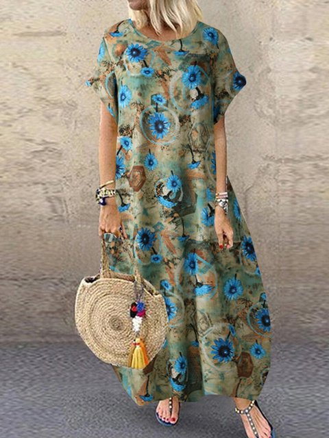 Vintage Floral Print Round Neck Short Sleeve Maxi Dress