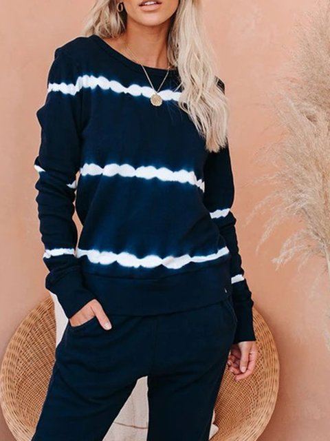 Navy Blue Long Sleeve Printed/dyed Crew Neck Shirts & Tops