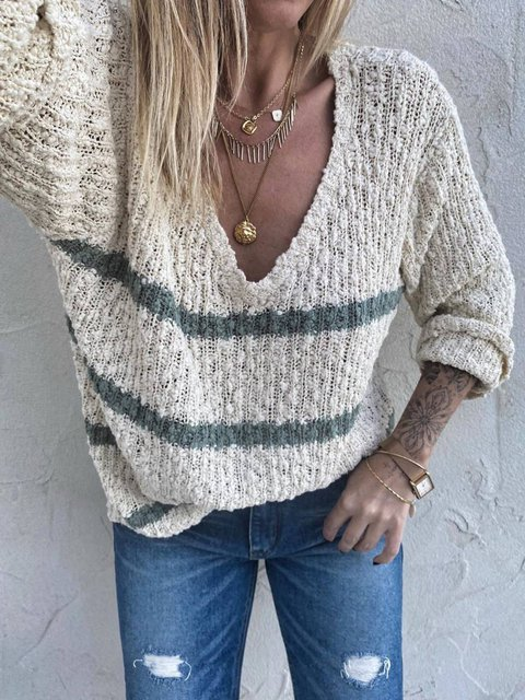 V Neck Casual Stripes Acrylic Sweater