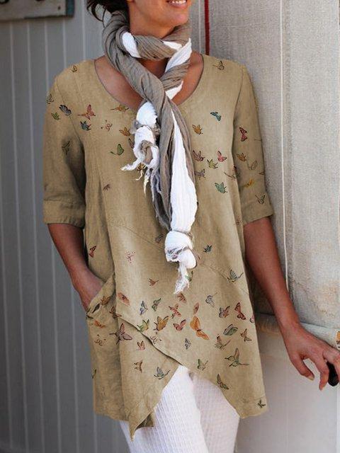 Slit Casual Half Sleeve Shirts & Tops