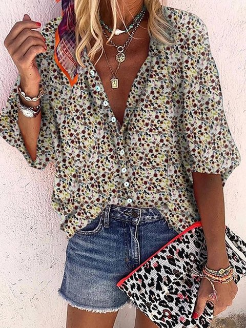Floral-Print V Neck Holiday Shirts & Tops