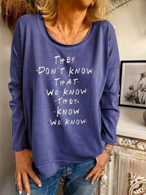 Long Sleeve Printed Crew Neck Cotton-Blend Shirts & Tops