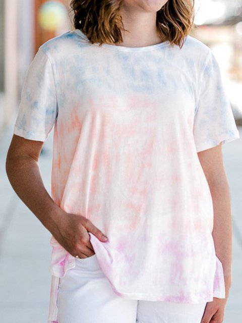 Tie Dye Round Neck Casual Loose Tee Tops