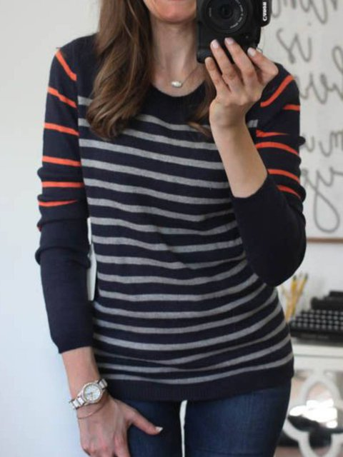 Stripes Crew Neck Casual Sweater