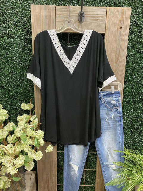 Black Casual Short Sleeve Shirts & Tops