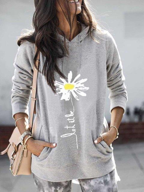 Light Gray Hoodie Casual Patchwork Printed Sweatshirt