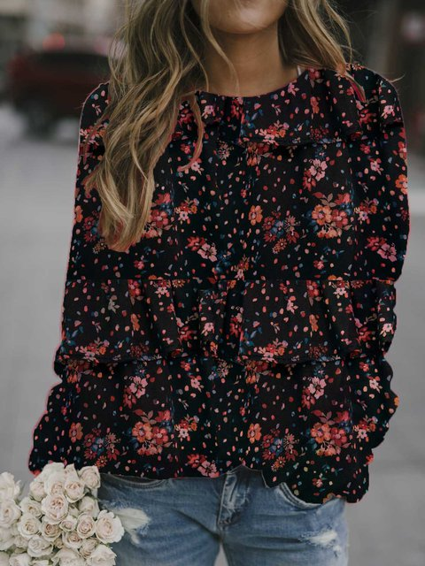 Black Patchwork Cotton-Blend Casual Printed Shirts & Tops