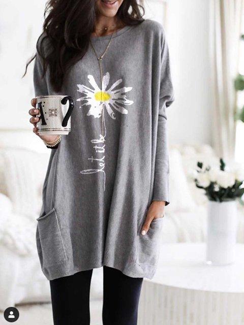 Light Gray Casual Long Sleeve Sweatshirt