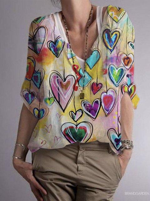 Color Ombre/tie-Dye Cotton-Blend Boho Shirts & Tops