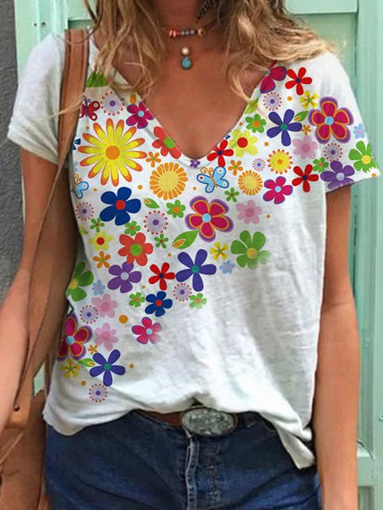 Printed Casual Floral Shirts & Tops