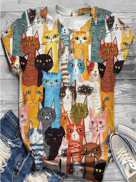 Short Sleeve Crew Neck Cat Shirts Funny Tops