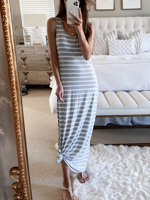 Gray Casual Stripes Dresses