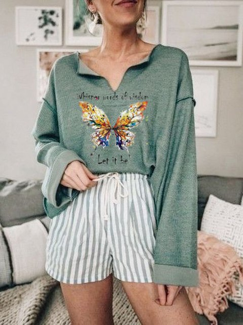 Butterfly Floral-Print Casual Shirts & Tops