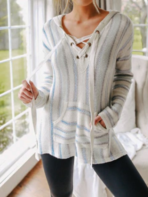 Knitted Casual Long Sleeve Shirts & Tops