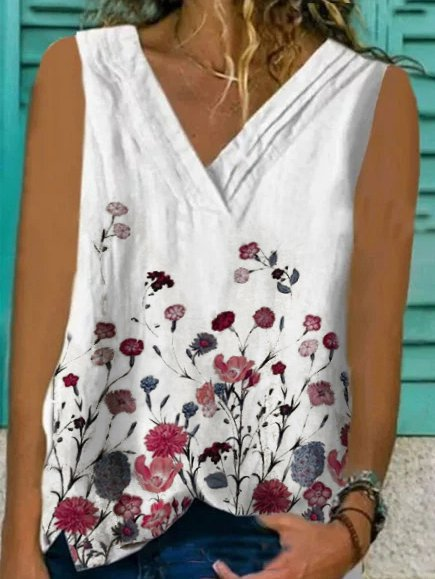 Casual Sleeveless Printed V Neck Shirts & Tops