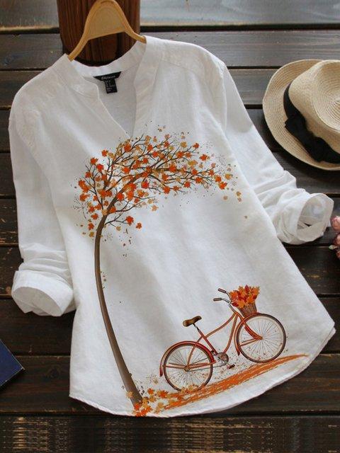 White Vintage Cotton-Blend Shirts & Tops