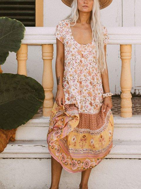 Flower Vintage Shift Polyester Fibre Dresses