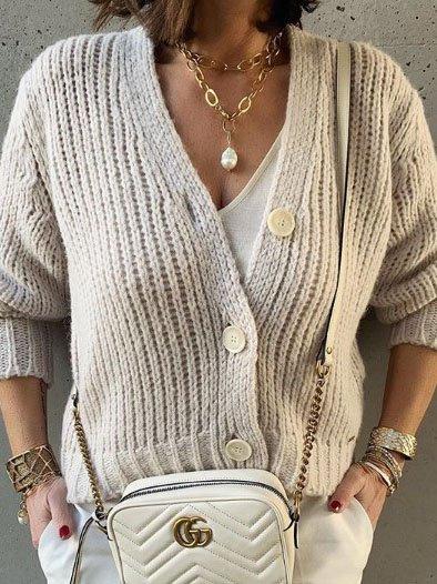 Creamy White Shift Plain Casual V Neck Sweater