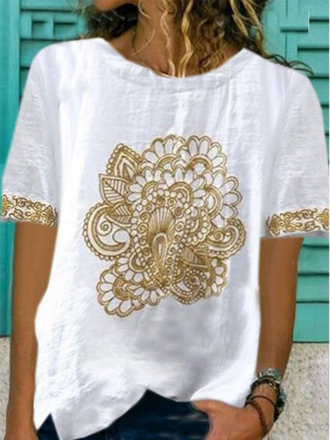 White Casual Cotton-Blend Round Neck Short Sleeve Shirts & Tops