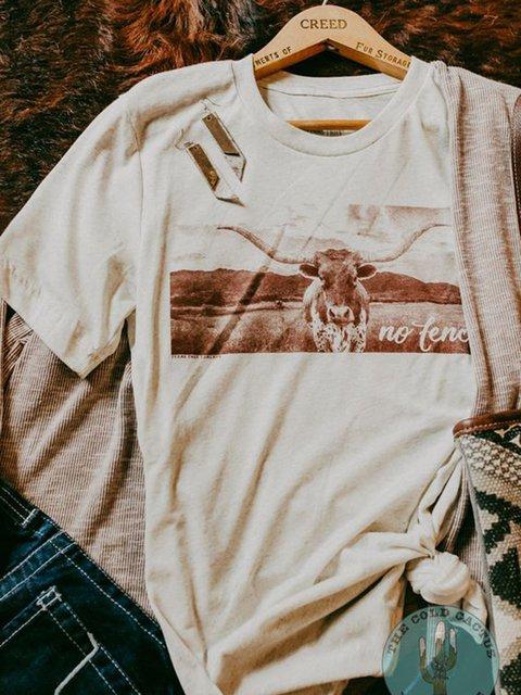 Creamy White Printed Short Sleeve Shirts & Tops