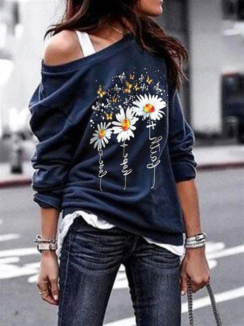 Floral Cotton Long Sleeve Shirts & Tops