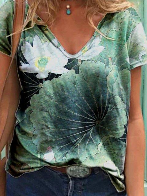 Printed V Neck Short Sleeve Shirts & Tops