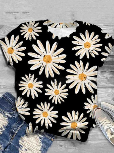 Black Short Sleeve Crew Neck Shirts & Tops