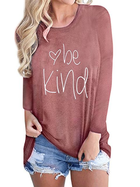 Crew Neck Letter Shift Long Sleeve Shirts & Tops