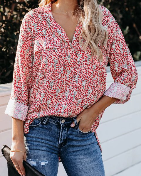Red Boho Printed Shirts & Tops