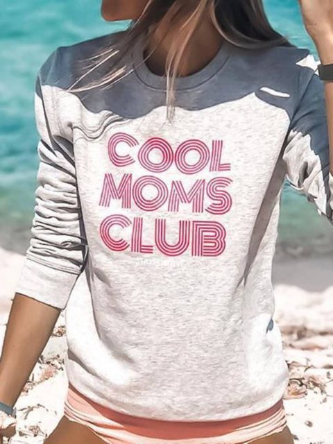 Letter Crew Neck Printed Long Sleeve Shirts & Tops