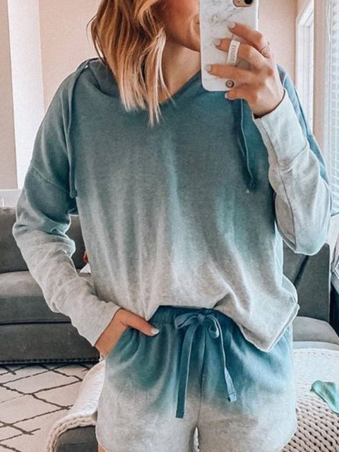 Ombre/Tie-Dye Cotton-Blend Casual Hoodie Shirts & Tops