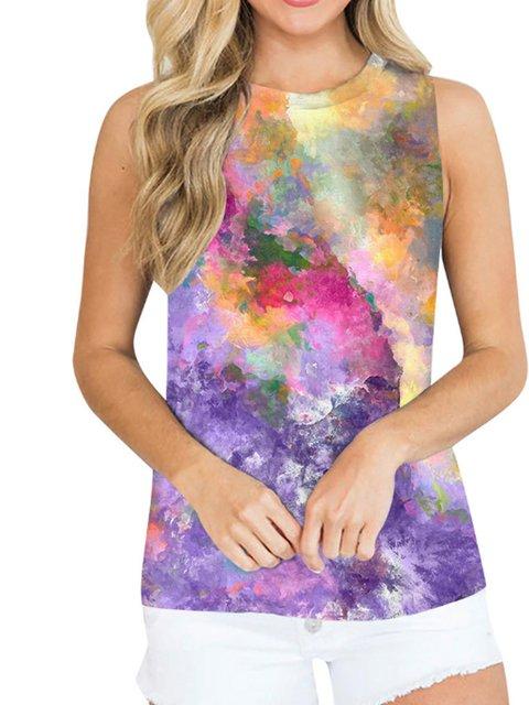 Plus Size Casual Cotton-Blend tie-Dye Shirts & Tops