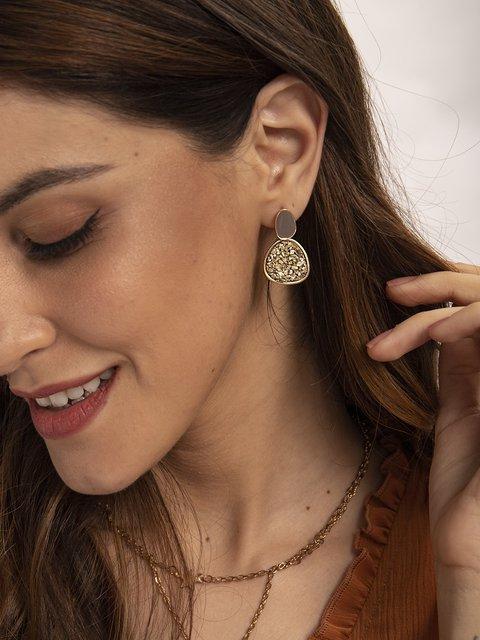 Golden Alloy Plain Sweet Earrings