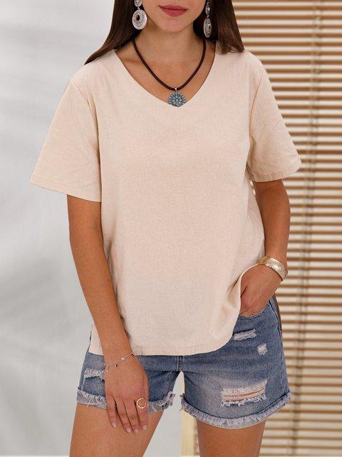 Khaki Solid Short Sleeve Casual Top