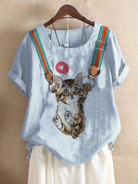 Blue Short Sleeve Cotton Shirts & Tops