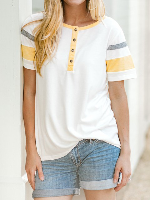 Striped Sleeve Round Neck Casual Tops