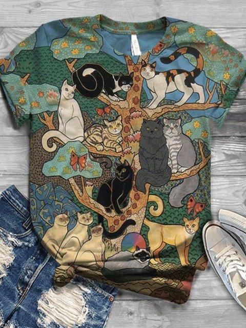 Plus Size Short Sleeve Animal Crew Neck Cotton-Blend Shirts & Tops