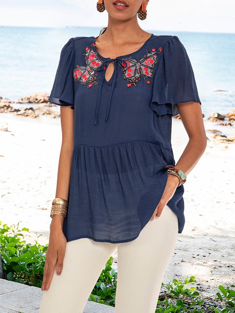 Purplish Blue Short Sleeve Paneled V Neck Floral Shirts & Tops
