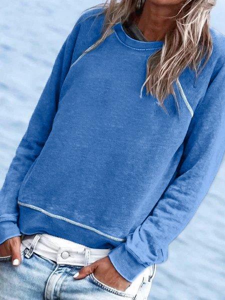 Blue Cotton-Blend Crew Neck Long Sleeve Plain Shirts & Tops
