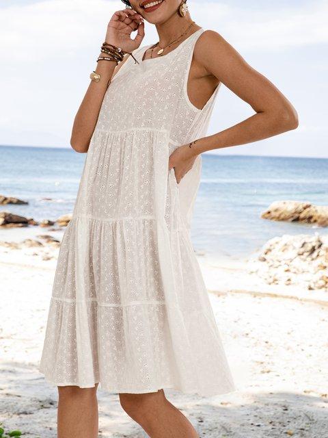 White Paneled Sleeveless Swing Crew Neck Dresses