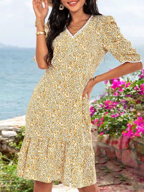 Yellow Paneled Cotton-Blend Boho Dresses