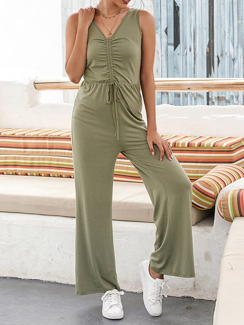 Green Casual Cotton-Blend Jumpsuits