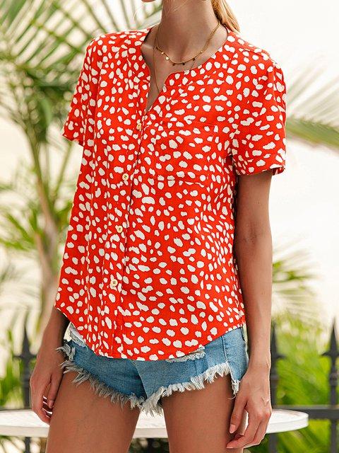 Red Shirt Collar Printed Cotton-Blend Short Sleeve Shirts & Tops
