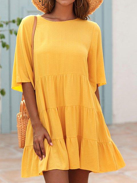 Yellow Plain Cotton-Blend Short Sleeve Crew Neck Dresses